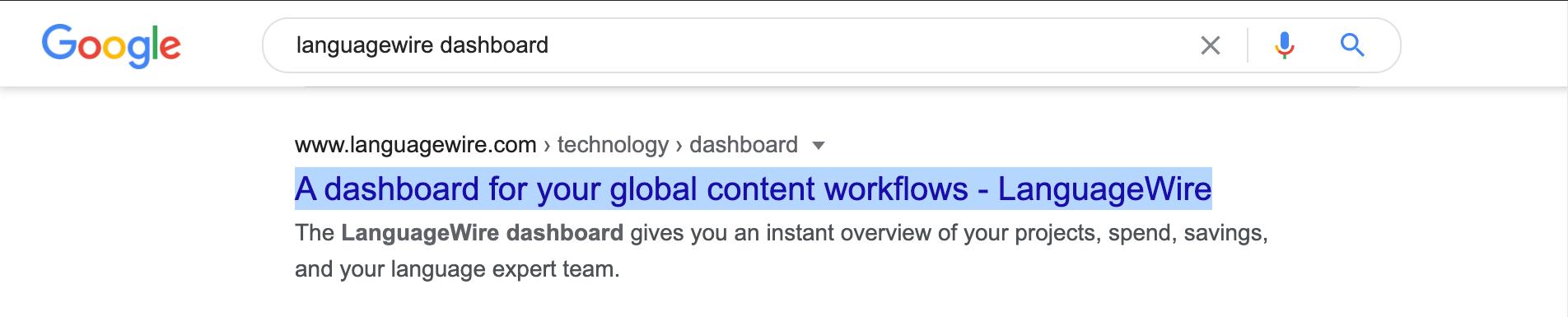 Eksempel på metatitel i Google